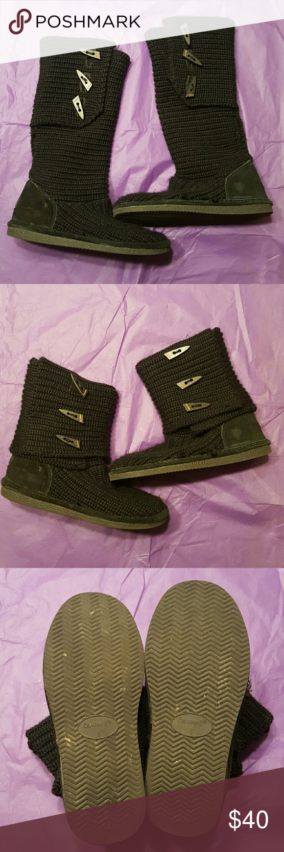 Bearpaw Black Knit Slipper Boots Bearpaw solid black knit slipper boots with rubber soles. Can be worn as standard mid-calf boot or folded down as a cuffed ankle boot. Functional toggles inside and out will show either way.  Very little wear on soles. No rips or stains. BearPaw Shoes Ankle Boots & Booties