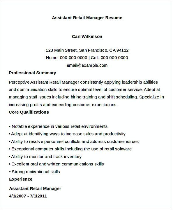 Assistant Retail Manager Resume , General Manager Resume , Find the