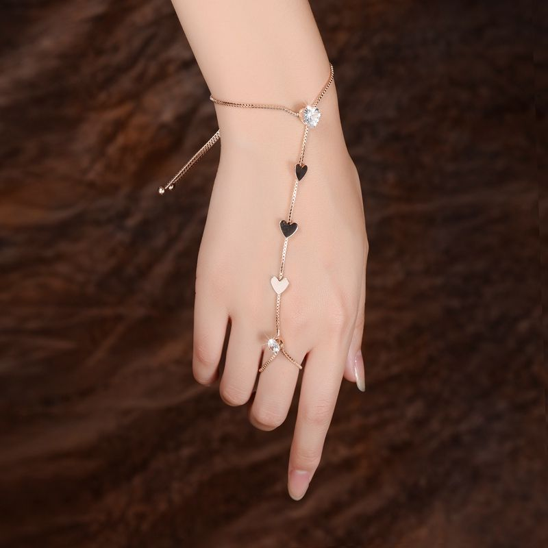 Elegant Silver Butterfly Charm Bracelet with Ring Slave chain Handlet Gift