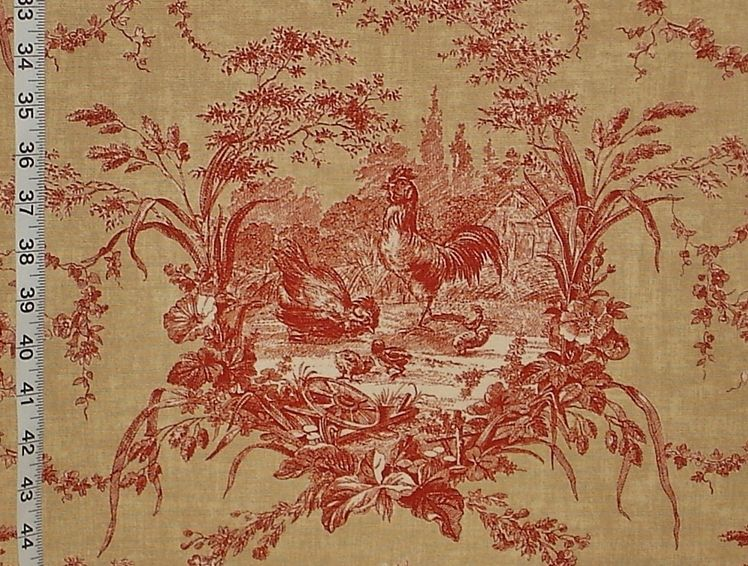 Chicken rooster toile fabric French country gold brick red