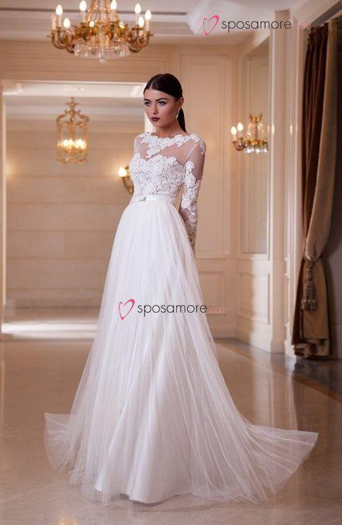 Adelaide - vestido de novia sencillo, elegante en satin, tul y ...