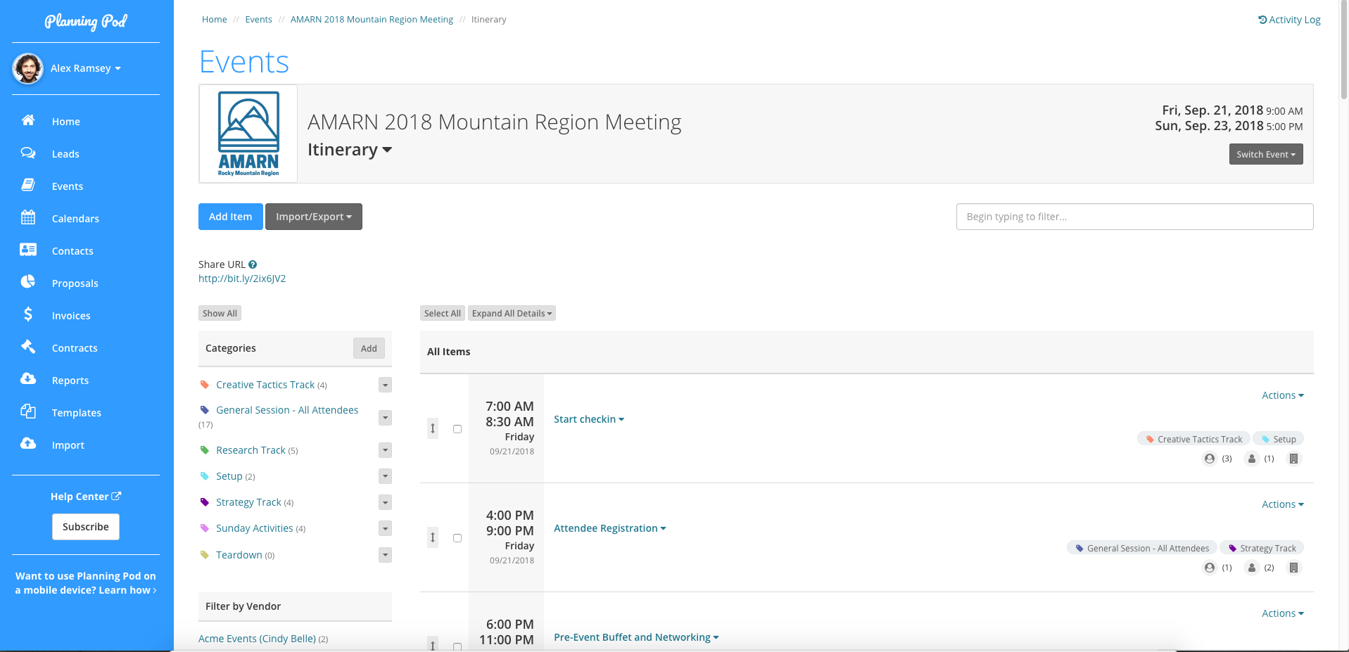 event itinerary schedule builder planning pod create a