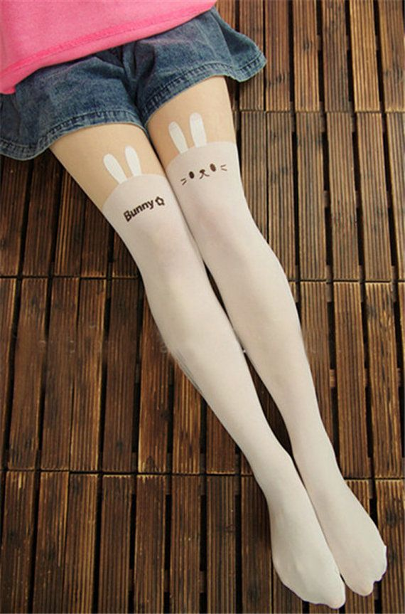 9176a780f5f1b Kawaii White Bunny Rabbit Mock Knee High tights on Etsy, $15.24 ...