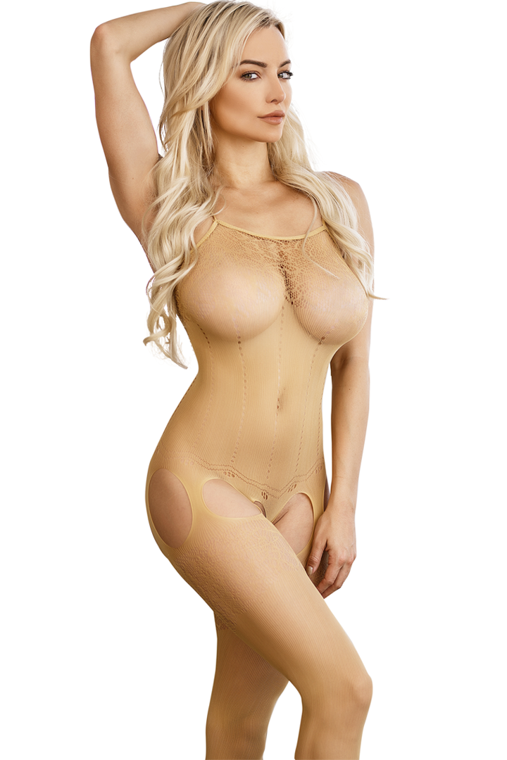 c6850442bb Women s Nude Crotchless Bodystocking Floral Lingerie. Create a look of  naughty innocence in this Nude
