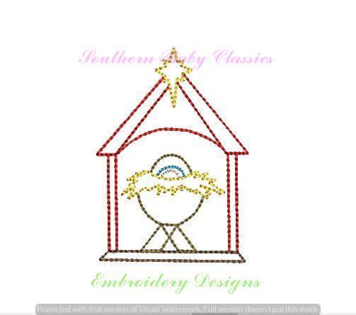 Manger Christmas Vintage Quick Stitch Design File for Embroidery Machine Monogram Instant Download Boy Girl