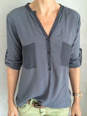 DEINLIEBLINGSLADEN Bluse mit Stehkragen, antra