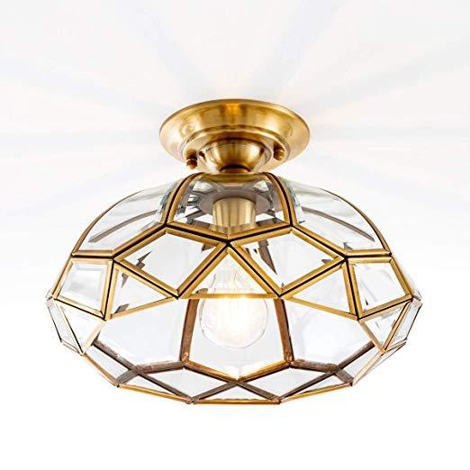 Yisuro Vintage Brass Glass Ceiling Light Fixture Diamond Shape Vintage Ceiling Lighting Vintage Ceiling Lights Ceiling Lights Modern Flush Mount Ceiling Light