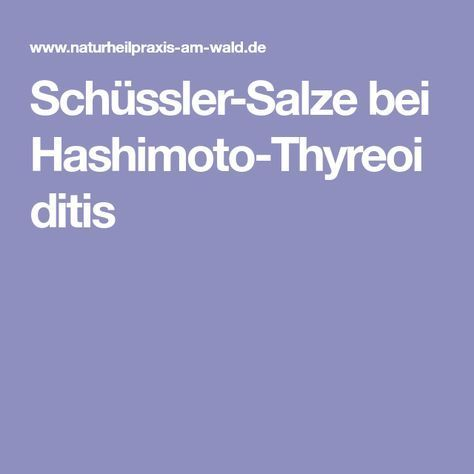 Photo of Schüssler-Salze bei Hashimoto-Thyreoiditis