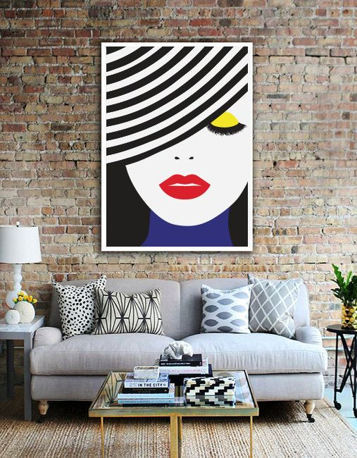 Pop Art Poster Face Illustration, Wall Art, Home Decor, Beauty Print, Glamour Decor, Fashion Illustration, Colorful Poster #usquotes