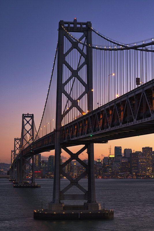 Bay Bridge Wall Art, San Francisco, Oakland, California, Suspension Bridge, Architecture Print   Travel Photography by TheWorldExplored