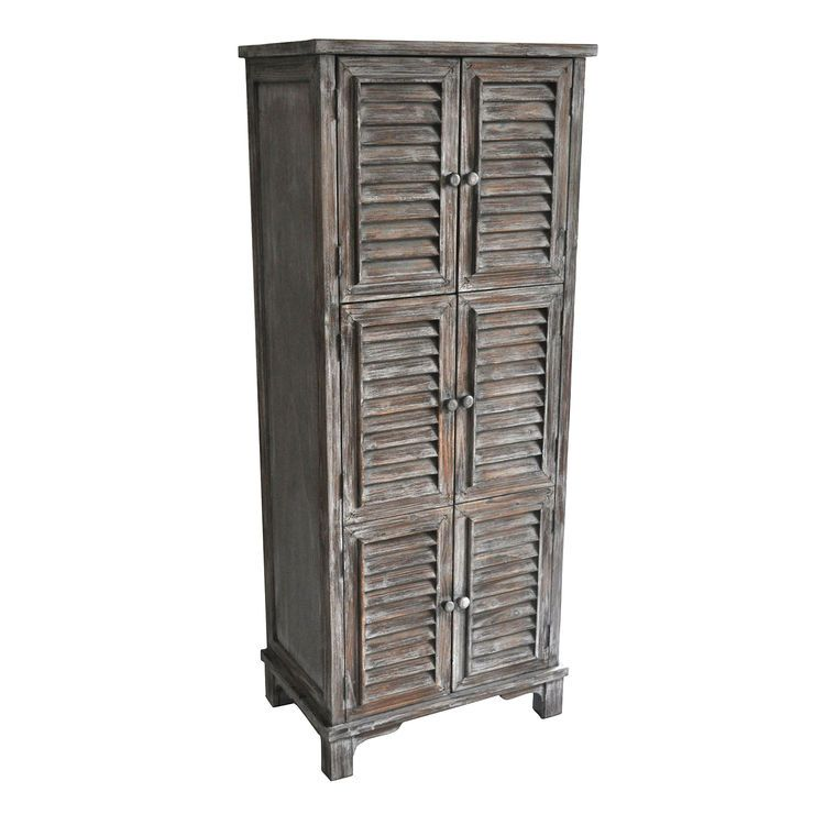 6 Drawer Distressed Wood Shutter Cabinet  51 In.   At Home