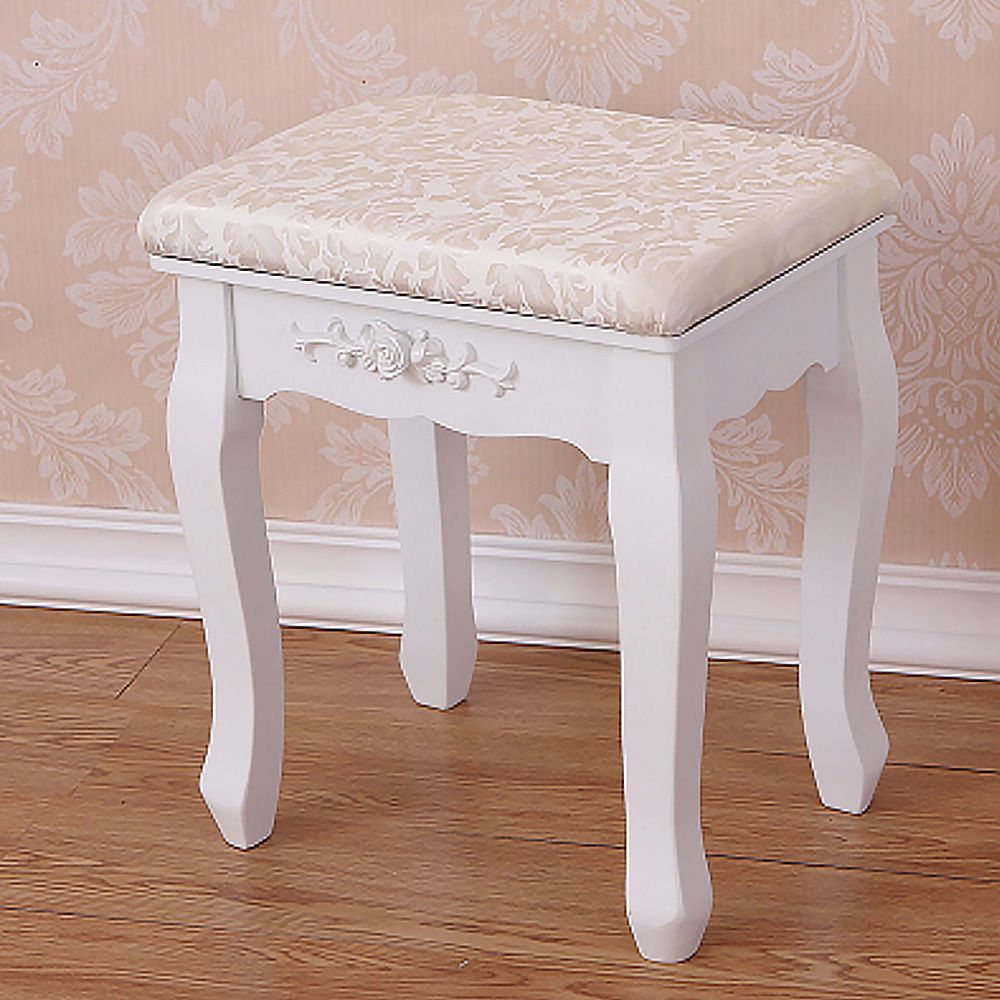 Vintage Stool Dressing Table Piano Chair White Decor