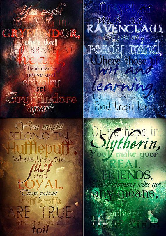 Set Of Four Hogwarts Houses Printable Gryffindor Slytherin Ravenclaw Hufflepuff Printable Poster Harry P Harry Potter Hauser Hogwarts Harry Potter Bucher