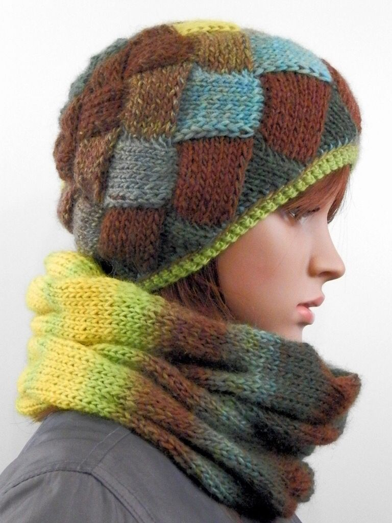 Winter set of the Entrelac beanie and cowl