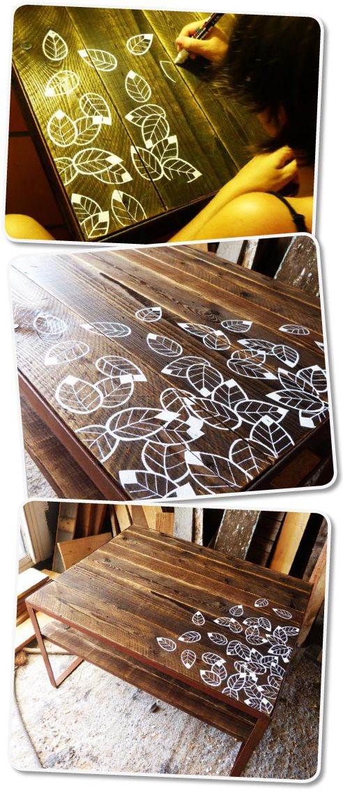 table basse bois feuille diy bois mobilier de salon. Black Bedroom Furniture Sets. Home Design Ideas