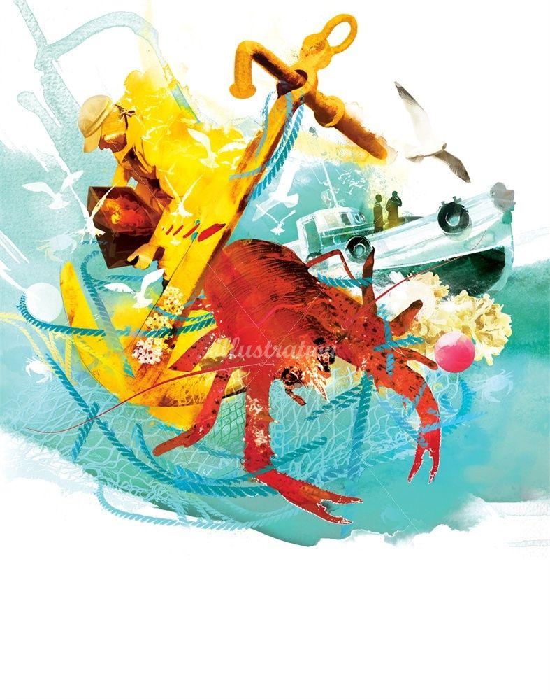 Crabs Anchor Boat Sailing Fishing Port Seagull Fisherman Crab