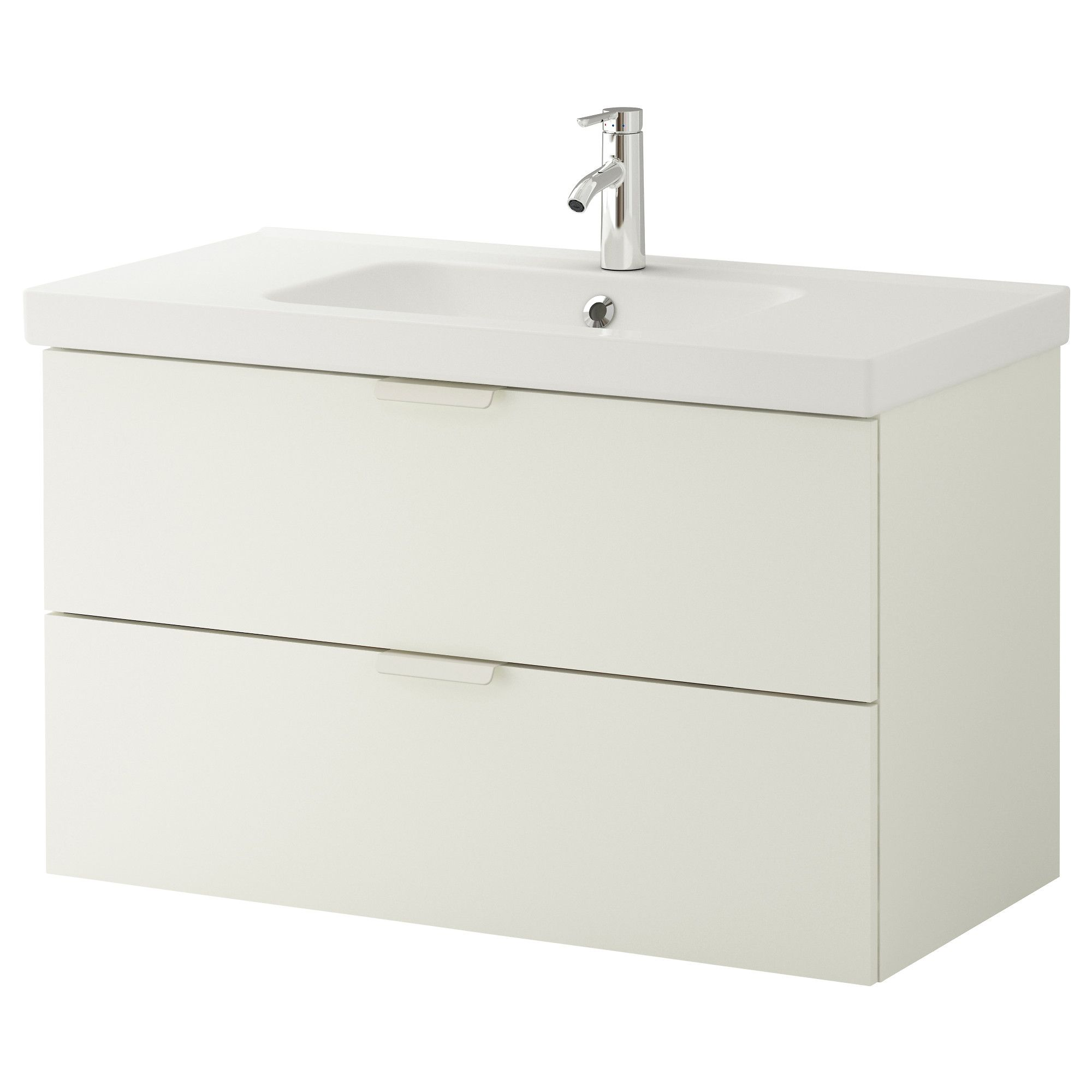 GODMORGON / ODENSVIK Sink cabinet with 2 drawers - white, 100x49x64 ...