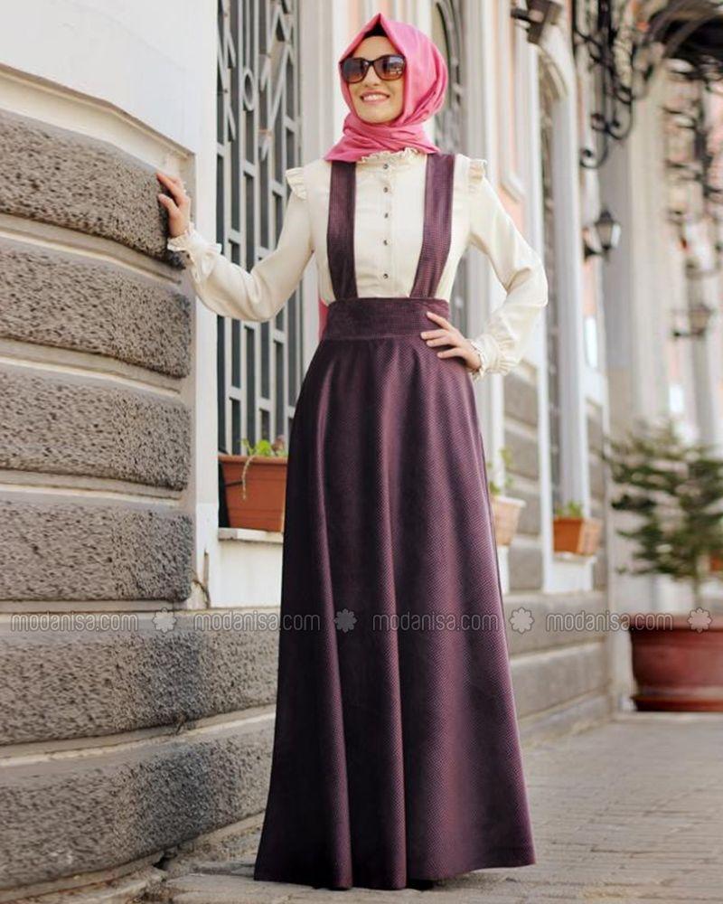 95dbc76ddf806 Askılı Kadife Etek - Mürdüm- Gamze Polat | hijab style | Etek, Etek ...