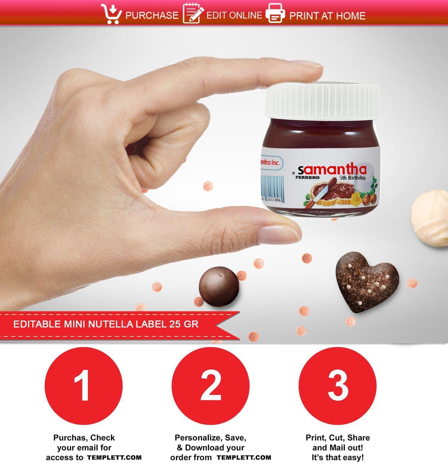 Nutella Etiqueta Imprimible Mini Frasco De 25 Gr Nutella Label Mini Nutella Nutella