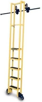 Cotterman Steel Rolling Track Ladder - Track Height: 7'11 to 8'9