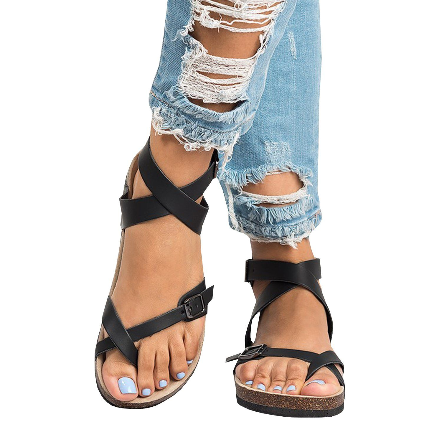 Chellysun Roman Sandals Buckle Peep-toe Flat Shoes. boho summer comfortable  strappy Gladiator leather