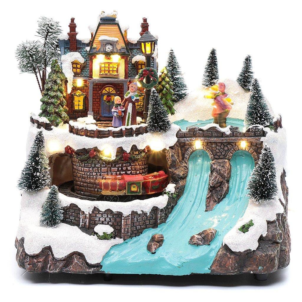 Musical Christmas Village With Moving Train And Ice Skating 25x25x15 Cm Christmas Village Display Christmas Village Diy Christmas Decorations Easy
