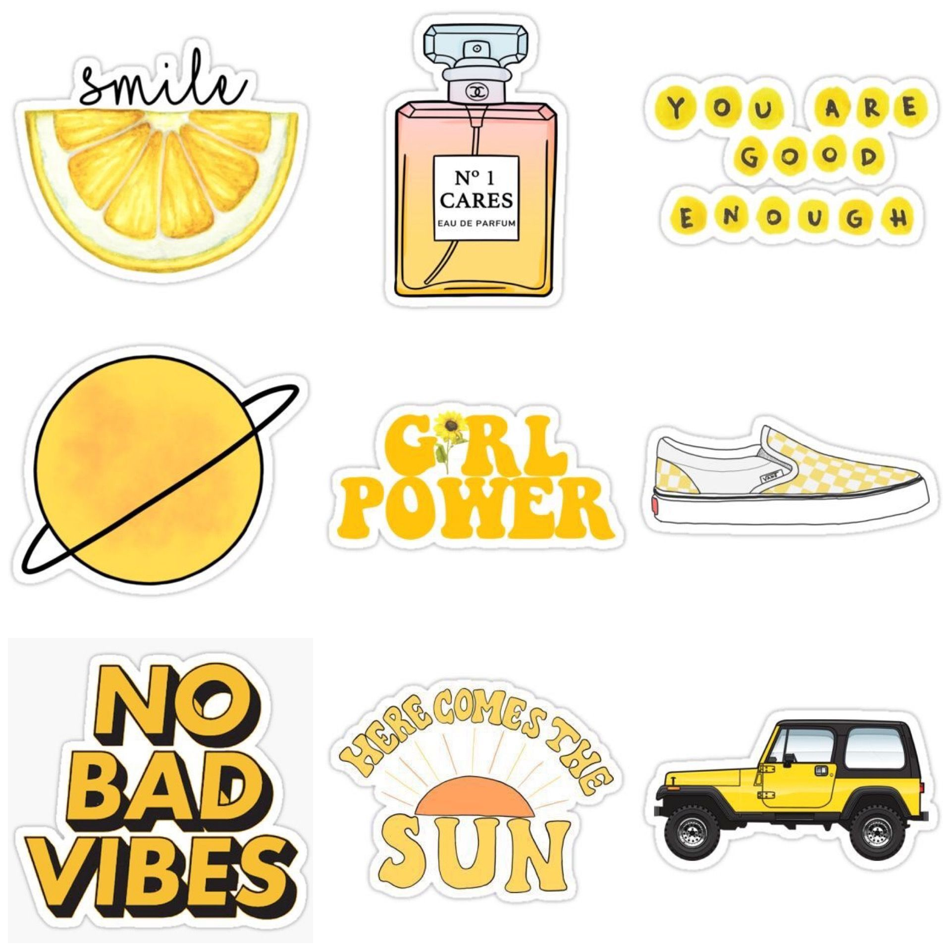Aesthetic Stickers Printable Yellow ` Aesthetic Stickers Printable