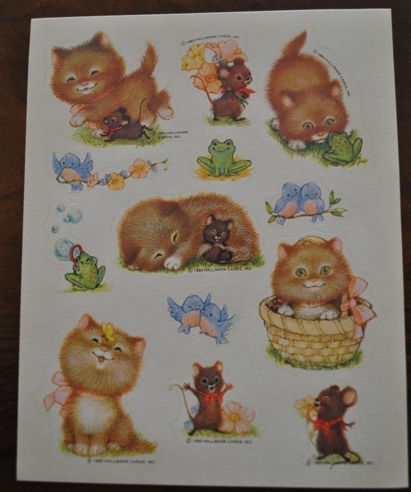 Vtg 1980 HALLMARK KITTENS MICE BIRDS Stickers 1 sheet