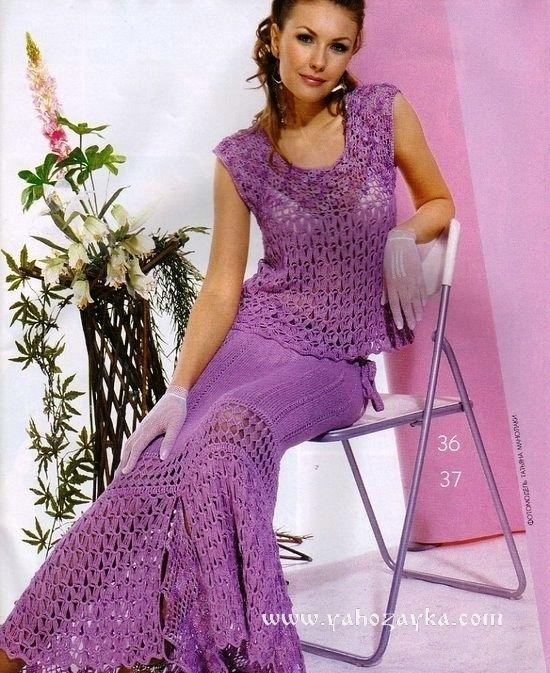 1cd6ebb3028 Костюм – жакет и юбка крючком. Вязаные женские костюмы схемы