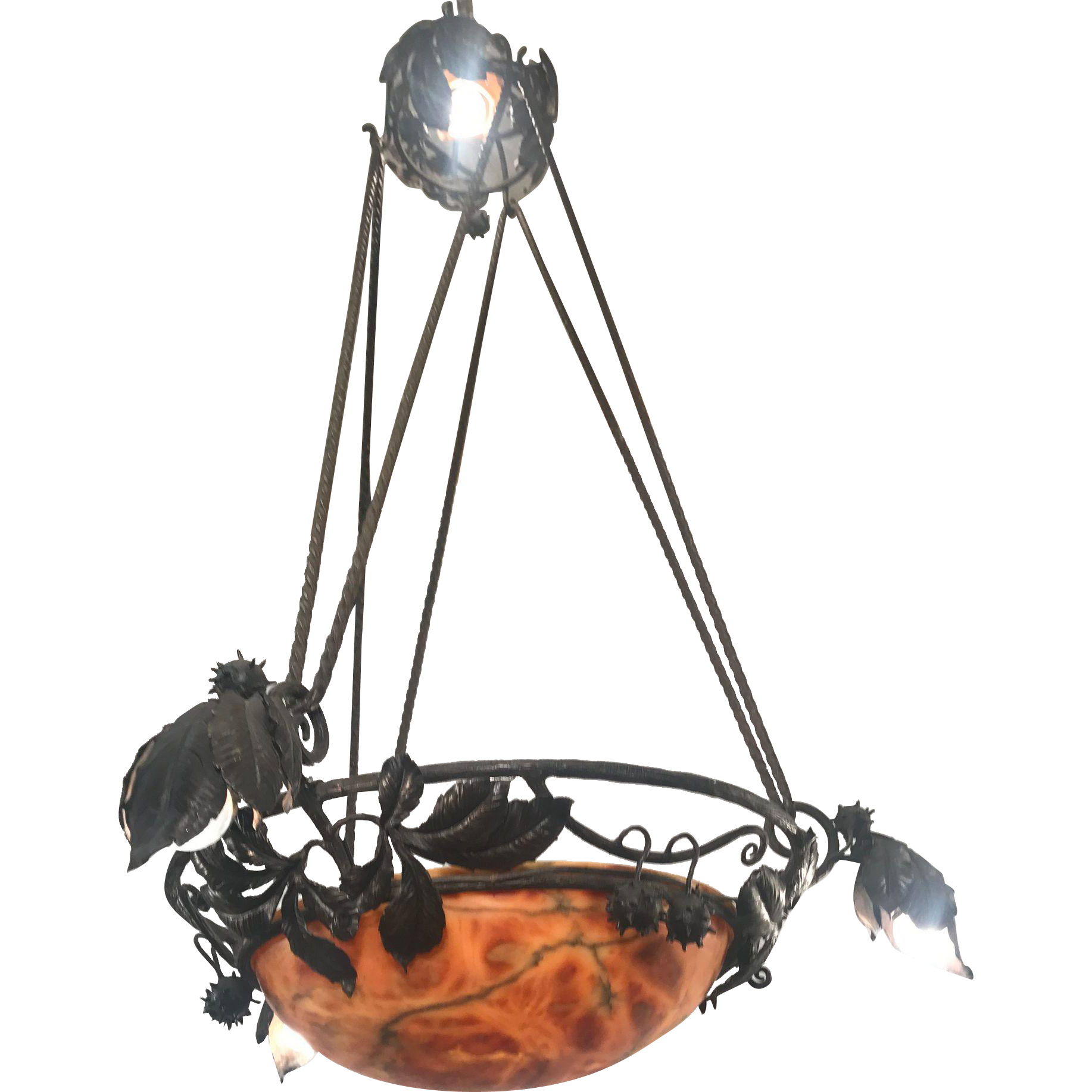 Arts and crafts wrought iron alabaster indian summer pendant arts and crafts wrought iron alabaster indian summer pendant fixture light arubaitofo Images