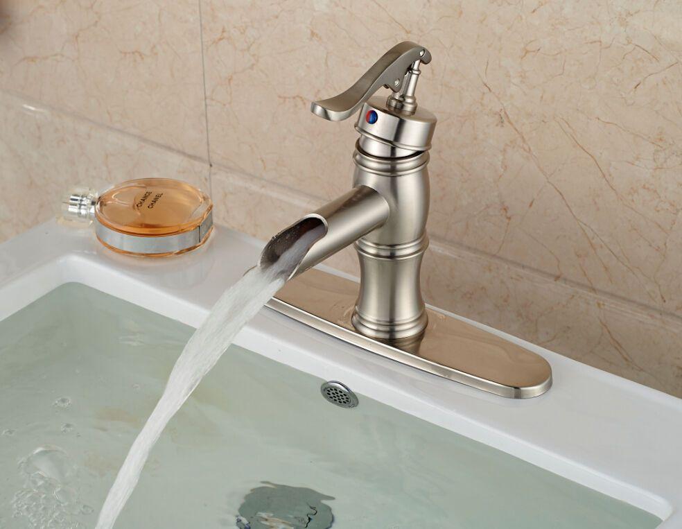 Brushed Nickel Bath Basin Sink Faucet Waterfall Spout Single Handle ...