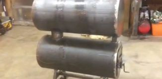 DIY Video : How to build a Homemade Double Barrel Garage Heater out of Old Water Tanks .Efficient,clean burn and cheap!
