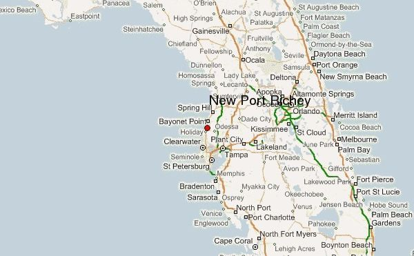 Newport Richey Florida Map Florida Map  New Port Richey, Clearwater, Tampa, Orlando, Kissimee