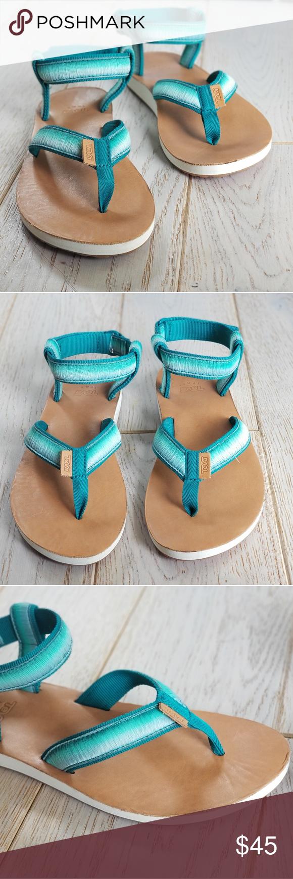 TEVA Teal Ombre Original Sandals womens size 8