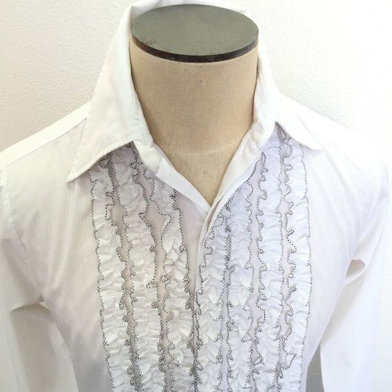 0c07c056bcd9 Mens Ruffled Tuxedo Shirt Size Small White by RetroResaleSanDiego ...