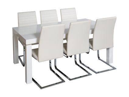 Morano Dining Table And 4 Alcora Chairs In White