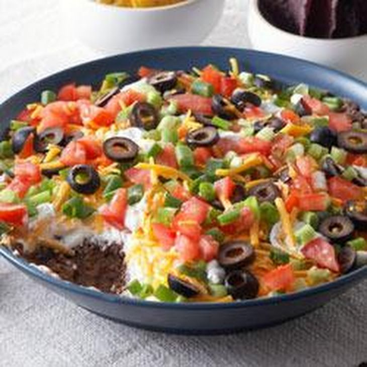 5 Layer Mexican Dip Recipe Appetizers With Refried Beans Chili Powder Ground Cumin Breakstone S Sour Crea Mexican Dip Recipes Mexican Dips Mexican Layer Dip