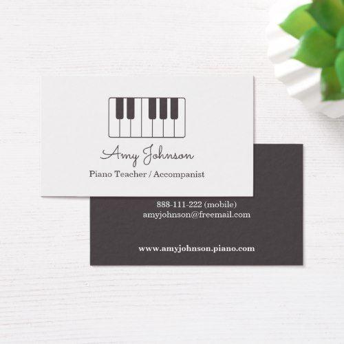 Modern Minimalist Music Piano Teacher Business Card Zazzle Com Teacher Business Cards Business Cards Creative Templates Piano Music