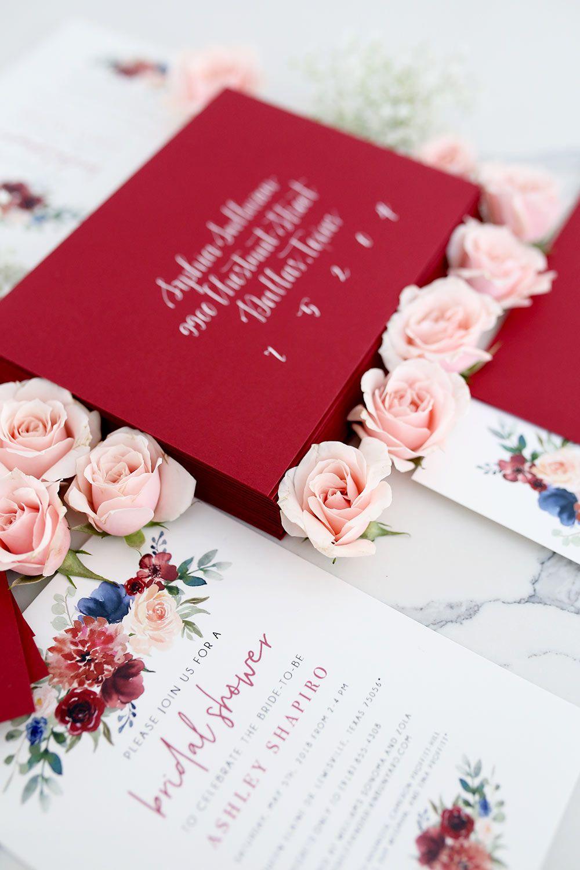 16 Creative Ways to Use Calligraphy - Burgundy wedding invitations ...