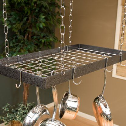 The Gourmet Rectangle Kitchen Pot Rack With Grid  Hayneedle Fair Kitchen Pot Rack Decorating Design