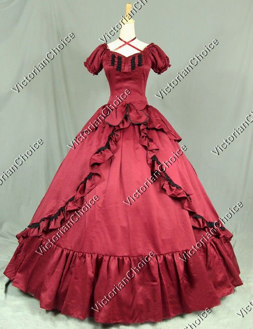 Victorian Period Red Dress Ball Gown Reenact Clothing Theatre ...