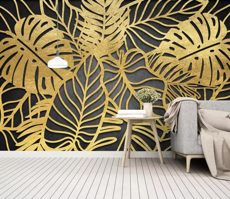 3d Abstraction Metal Gold Palm Leaf Wallpaper Removable Etsy Palm Leaf Wallpaper Leaf Wallpaper Wallpaper