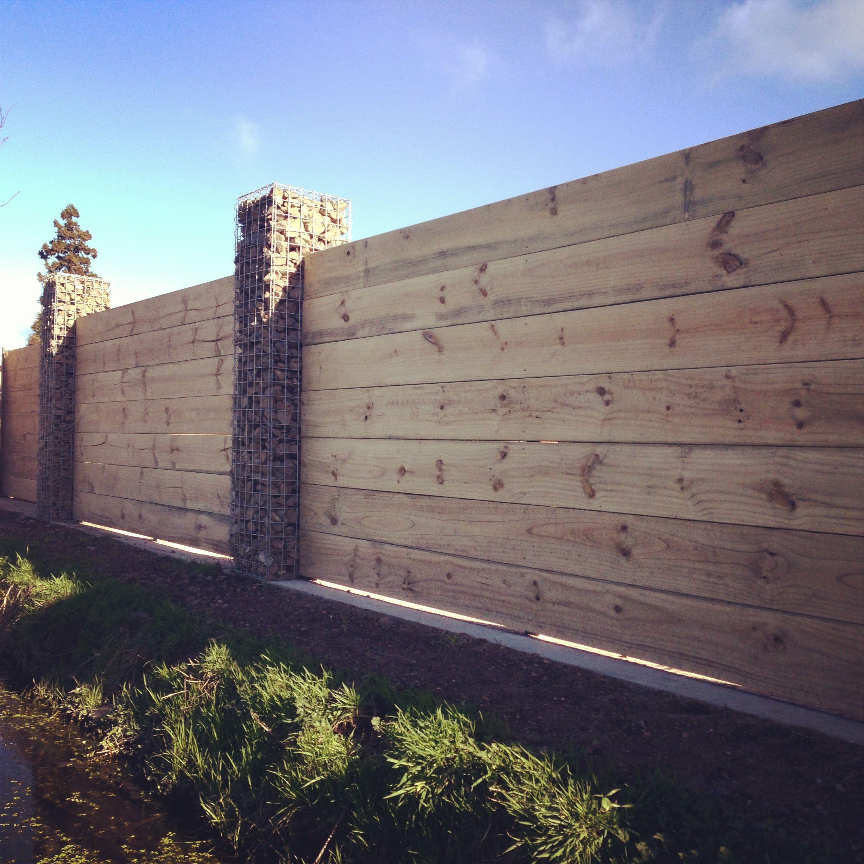 duck rd property gabion pillar front fence designed by landscape