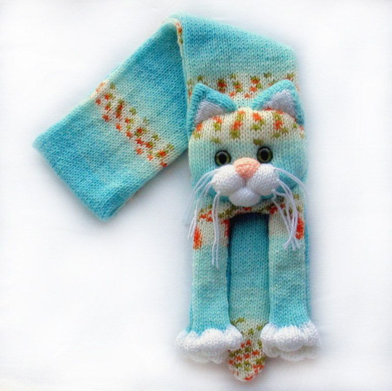 Knitted cat scarf,Knitted kids scarf,Animal scarf,Cat scarf,Knit scarf by NPhandmadeCreations on Etsy
