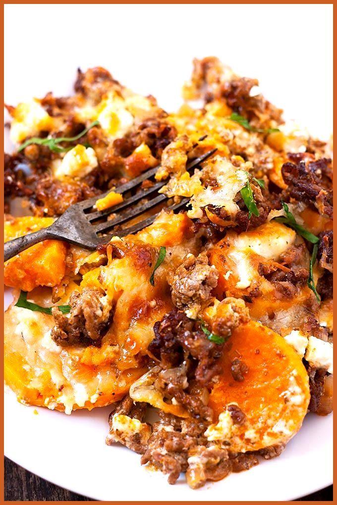 Süßkartoffel-Hackfleisch-Auflauf mit Feta #Feta #Fitness food design #Fitness food rezepte #mit #Süß...