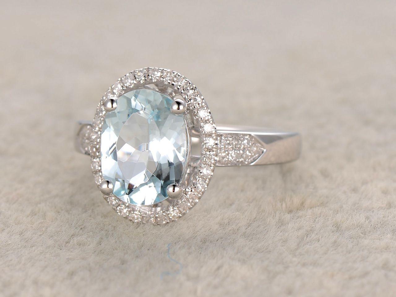 6x8mm oval aquamarine engagement ring diamond wedding ring
