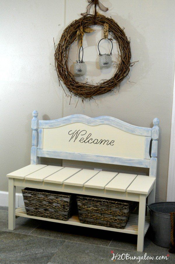 diy twin headboard bench with storage outdoor furniture repurposing upcycling storage ideas woodworking projects & DIY Twin Headboard Bench With Storage | Pinterest | Headboard ...