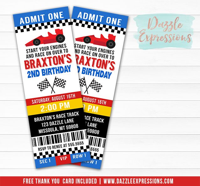 Printable Race Car Ticket Birthday Invitation Nascar Hot Wheels Party Boy Birthday Race Car Birthday Party Cars Birthday Parties Hotwheels Birthday Party
