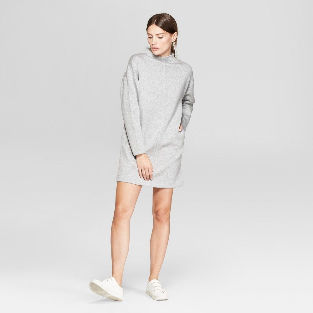 632e6bc3fde Women s Long Sleeve Mock Neck Scuba Sweatshirt Dress - Prologue Heather  Gray XL