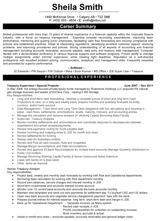 Treasury Supervisor Resume Sample Professional Resume